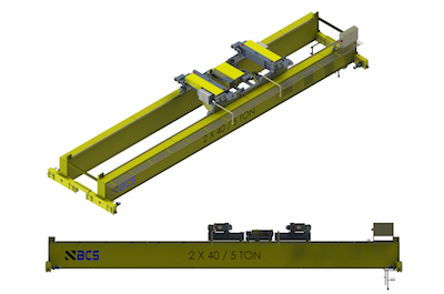 Top Running Double Girder Overhead Crane, Fabricated Box Construction, Dual Primary Hoists, Auxilary Hoist